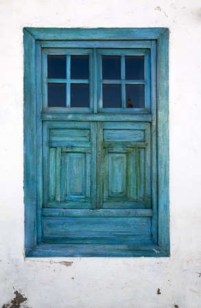 Blue window in a house in Teguise, Lanzarote, Canary Islands, Spain Stock Photo - 2093261
