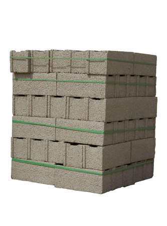 Stack of cinder blocks ( concrete masonry units ) isolated on white