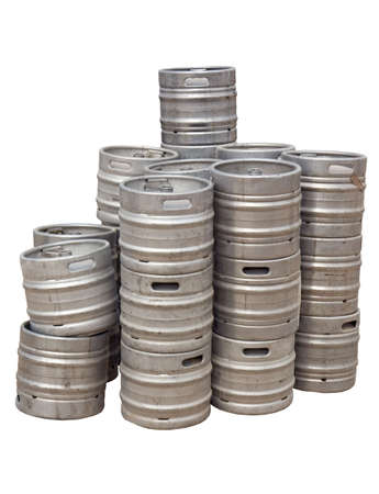Stack of beer kegs isolated on white