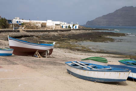 Boats in Caleta de Sebo, La Graciosa island, Canary Islands, Spain