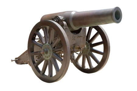 wheel barrel: Ancient Spanish howitzer cannon ( Ob�s de bronce de 21cm Plasencia Md. 188591 ) isolated on white