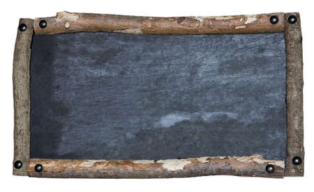 weathered: A rustic blank blackboard isolated on white