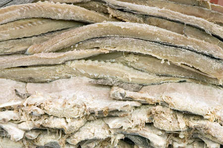 desiccation: Pile of dried and salted codfish fillets