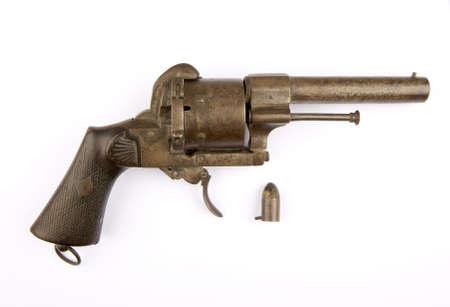 A Lefaucheux type pinfire revolver with 12 mm cartridge Stock Photo