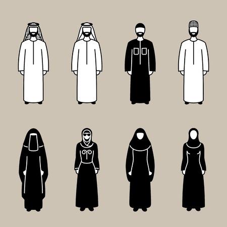 Tradycyjnie obleczony muzułmanin arab mężczyzna i kobieta sylwetka zestaw ikon, ilustracji wektorowych