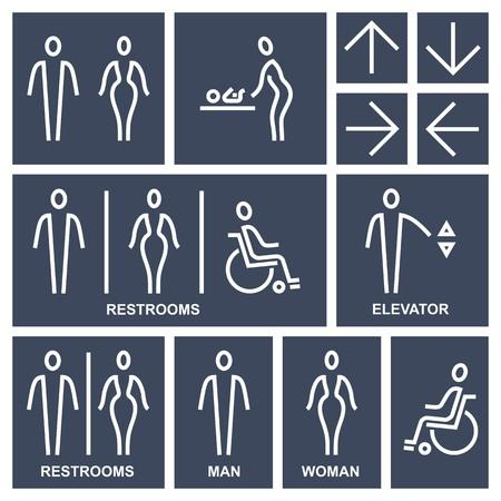 Stylized line Man & Woman public access icons set, vector illustration