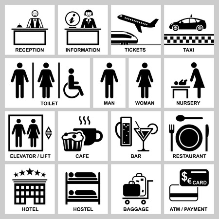 Public access hotel and station services icons set, vector illustration