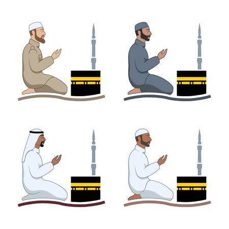 humility: Traditionally clothed muslim man making a supplication (salah) while sitting on a praying rug against the backdrop of the mosque. Silhouette icon set includes 4 versions in different dress. Vector illustration.