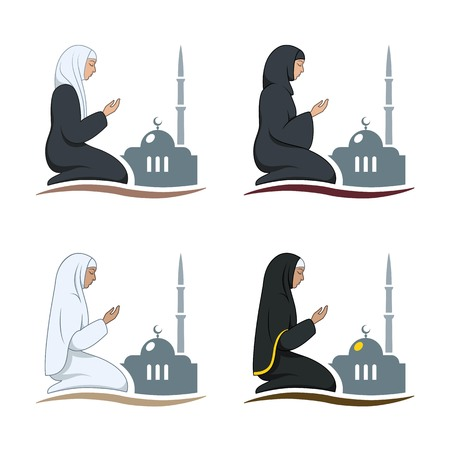namaz: Traditionally clothed muslim woman making a supplication (salah) while sitting on a praying rug against the backdrop of the mosque. Silhouette icon set includes 4 versions in different dress. Vector illustration.