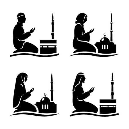 namaz: Traditionally clothed muslim man and woman making a supplication (salah) while sitting on a praying rug against the backdrop of the mosque. Silhouette icon set includes 4 versions in different dress. Vector illustration.