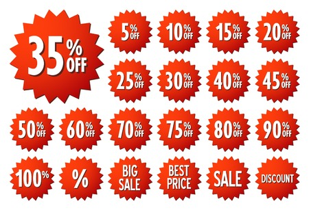 Sale vector label icons. Discount stickers set for shop, retail, promotion. Best price, big sale, 35% off, special offer, discount icons.