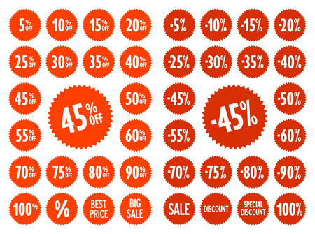 Sale vector label icons. Discount stickers set for shop, retail, promotion. Best price, big sale, 45% off, -45%, special offer, discount icons.