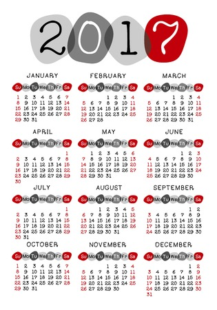 Calendar 2017 template week starts Sunday, vector illustration