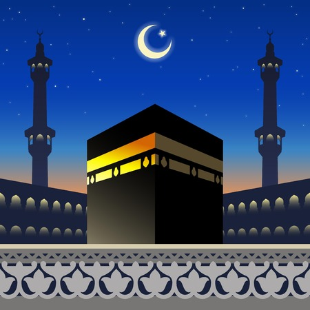 Moonlight Kaaba and mosque silhouette in Mecca Saudi Arabia on arabic geometric pattern for greeting background of Hajj, vector illustration