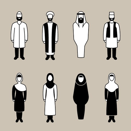 clothed: Traditionally clothed muslim man and woman icon set, vector illustration Illustration