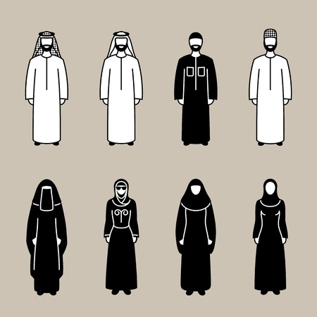 clothed: Traditionally clothed muslim arab man and woman silhouette icon set, vector illustration