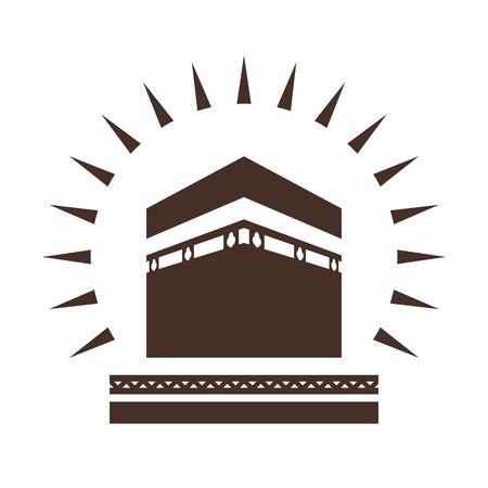 hajj: Kaaba in Mecca Saudi Arabia geometric pattern icon for greeting background of Hajj, vector illustration