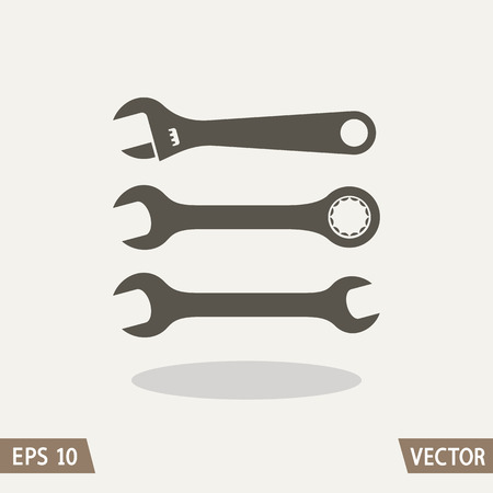 adjustable: Car and machines repair instruments kit icon isolated on light background. Set of wrenches. Vector illustration for web and commercial use.
