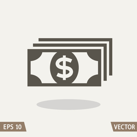 assignation: Money flat icon, dollar symbol. Vector illustration for web and commercial use.