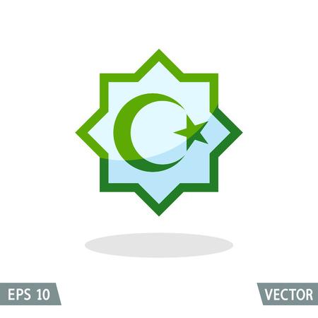symbool van de islam wassende maan en ster in de achthoek. royalty