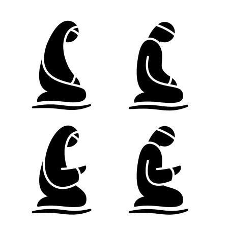 humility: Muslim man and woman making a supplication while sitting on a praying rug. Silhouette icons includes 4 versions islamic prayer in different poses. Vector illustration.
