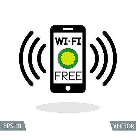 touching: Smartphone and wireless connection, free Wi-Fi icon. Vector Illustration.