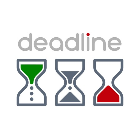 Hourglass time management business icons set. Deadline, animated sandclock illustration.