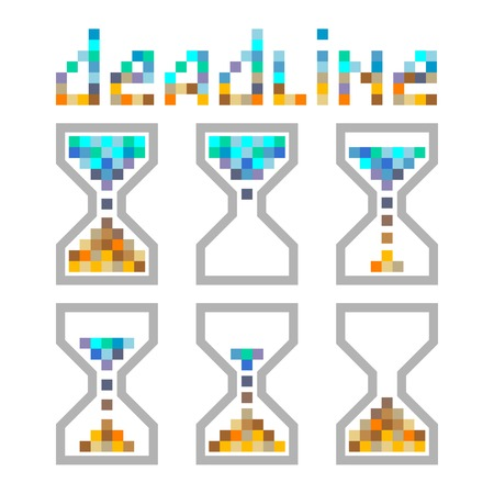 opportunity sign: Hourglass time management business colours icons set. Deadline, animated pixel style sandclock, llustration. Illustration