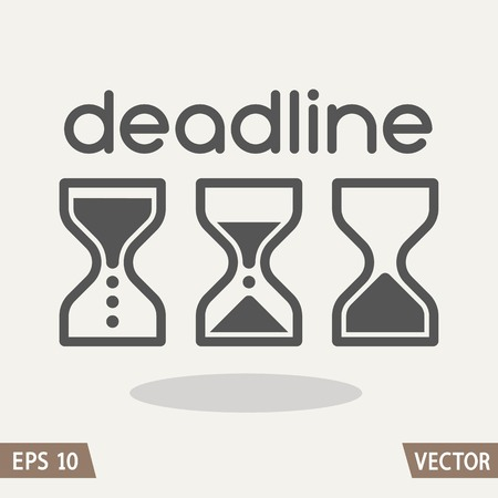 Hourglass time management business icons set. Deadline, animated sandclock vector eps10 illustration.