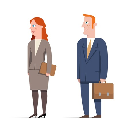 Set of business man and business woman character.