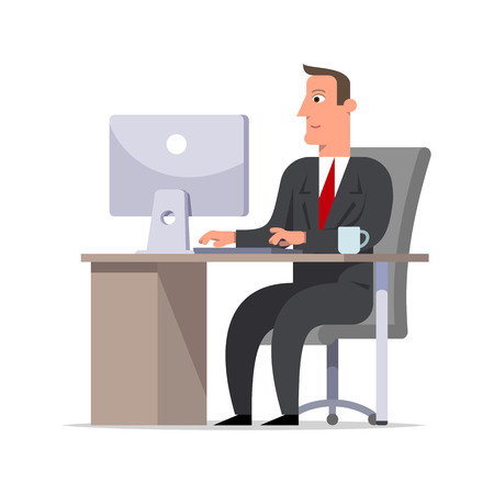 Businessman or clerk in a black suit sitting at the desk and working at the computer, looking at screen. Comfortable workspace, effective employee, organized manager. Flat style vector illustration. Çizim