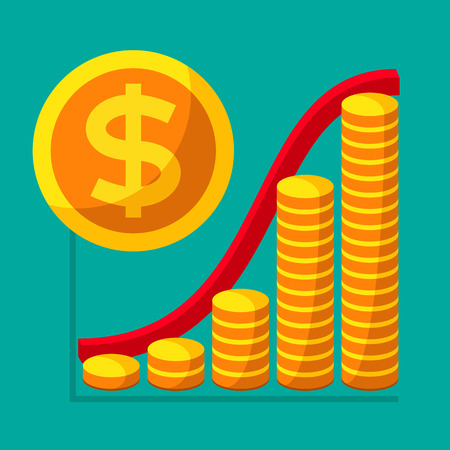 Represent of financial growth concept with the schedule of the stacks of gold coins. Money flat icon, United States dollar symbol. Vector illustration for web and commercial use.