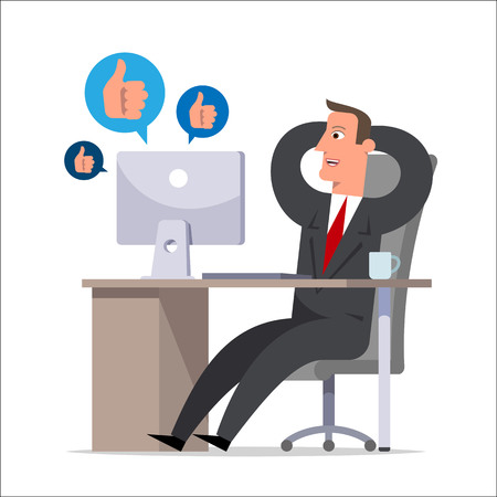 The clerk during working hours communicates in social networks and rejoices the received likes. Procrastination, office plankton, negligent, carefree worker. Flat style vector illustration.