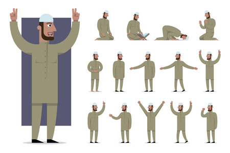 Set of traditionally clothed muslim character poses and emotions. Cartoon style, islam dress code. Vector flat illustration.