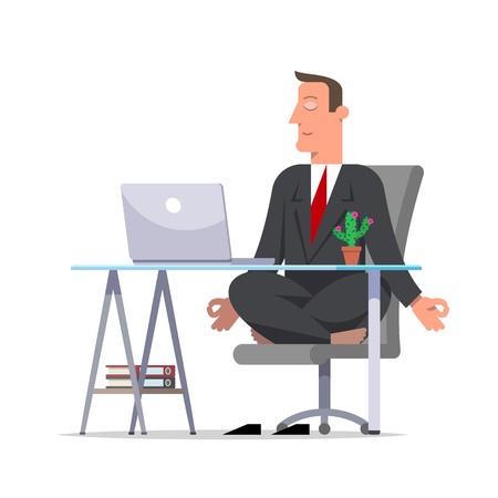Businessman or clerk in a black suit meditating in office sitting in lotus pose, he is relaxed. Business yoga. Cartoon character, flat style vector illustration.