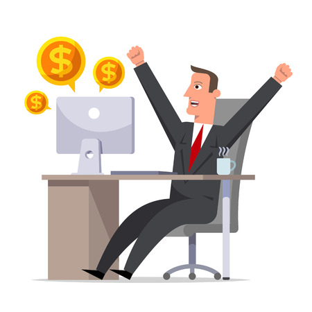 Happy businessman rejoices in the profit. Cartoon character sitting at a table and throwing up his arms in a joyful movement. Effective manager, successful businessman. Flat style vector illustration. Illustration