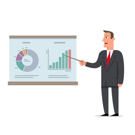 Businessman presents a report using infographics on the office flip chart. Business decision concept, flat style cartoon character vector illustration. Illustration
