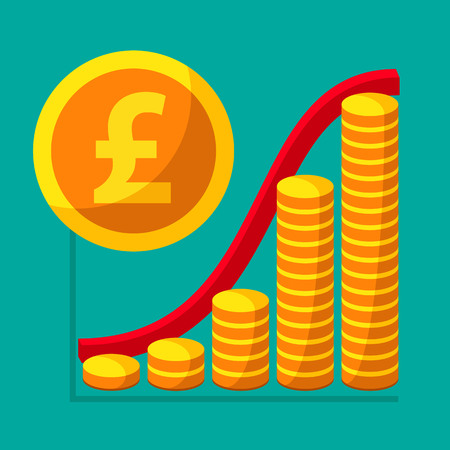 Represent of financial growth concept with the schedule of the stacks of gold coins. Money flat icon, British pound sterling symbol. Vector illustration for web and commercial use.