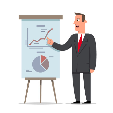 Businessman presents a report using info graphics on the office flip chart. Business decision concept, flat style cartoon character vector illustration.