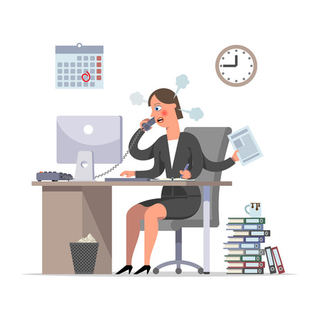 Multi handed businesswoman or the clerk is doing urgent work, the deadline is approaching. Couples from ears, burnout syndrome at work, stress. Flat style cartoon character vector illustration.