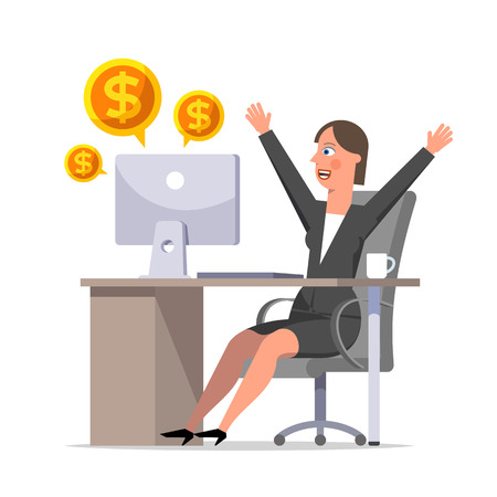 Happy businesswoman rejoices in the profit. Cartoon character sitting at a table and throwing up his arms in a joyful movement. Effective manager, successful business. Flat style vector illustration.