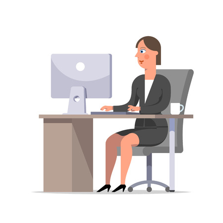 Businesswoman or clerk in a black suit sitting at the desk and working at the computer, looking at screen. Comfortable work space, effective employee, organized manager. Flat style vector illustration. Çizim