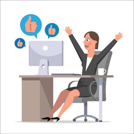The woman clerk during working hours communicates in social networks and rejoices the received likes. Procrastination, office plankton, negligent, carefree worker. Flat style vector illustration.