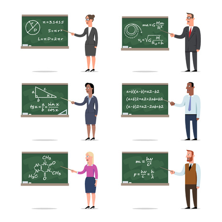 Set of the teachers explains the lesson by pointing to the board. Mans and women standing in front of the blackboard, school, college, university. Cartoon flat-style vector illustration.