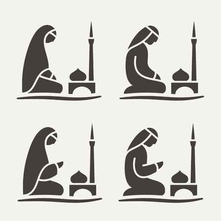 Traditionally clothed Muslim Arab man and woman making a supplication (Salah) while sitting on a praying rug against the backdrop of the mosque. Silhouette icon set includes 4 versions in different poses. Vector line style illustration.