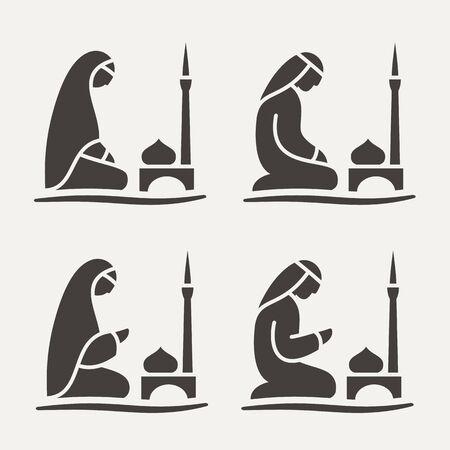 Traditioneel geklede moslim-Arabische man en vrouw die een smeekbede (Salah) doen terwijl ze op een gebedskleed zitten tegen de achtergrond van de moskee. Silhouette icon set bevat 4 versies in verschillende poses. Vector lijn stijl illustratie. Vector Illustratie