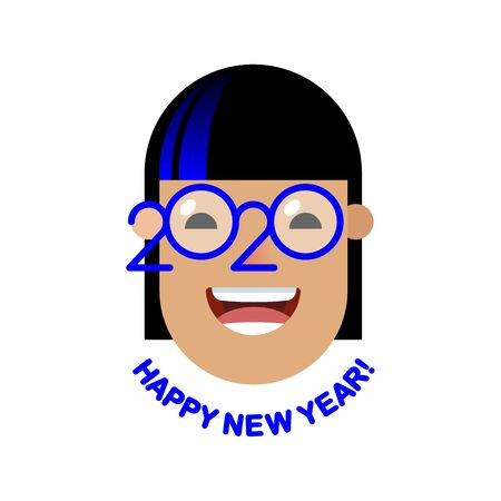 Cheerful smiling African girl with classic blue colored strand in glasses - a symbol of the upcoming 2020. Happy new year! Banner for seasonal holidays flyers, greetings, invitations and cards.