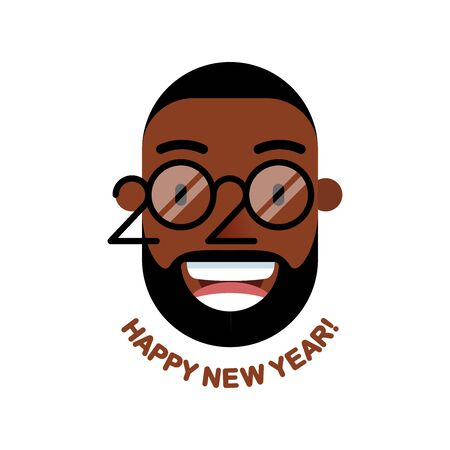 Cheerful smiling bearded African man with glasses - a symbol of the upcoming 2020. Happy new year! Banner for seasonal holidays flyers, greetings, invitations and cards. Vector illustration. Ilustrace