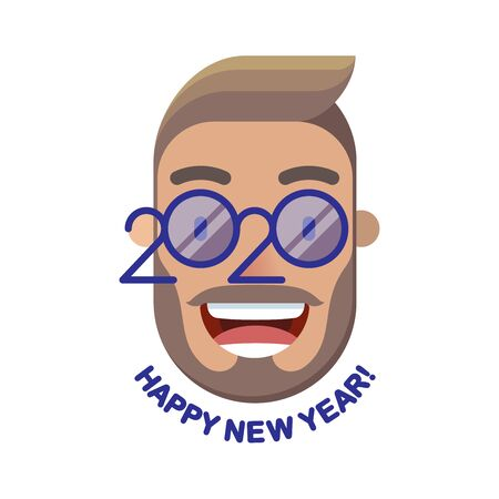 Cheerful smiling short bearded man with curled mustache and glasses - a symbol of the upcoming 2020. Happy new year! Banner for seasonal holidays flyers, greetings, invitations and cards. Ilustrace