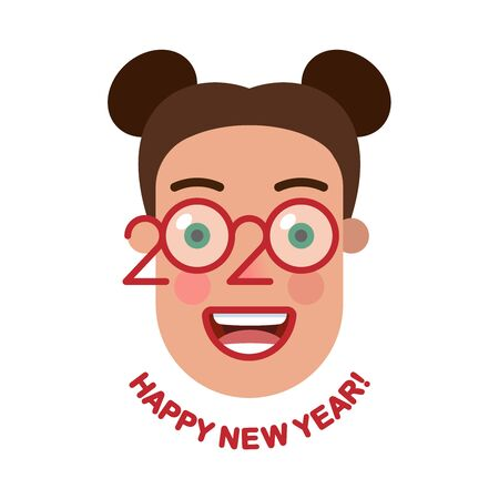Cheerful smiling space buns hairstyle girl with glasses - a symbol of the upcoming 2020. Happy new year! Banner for seasonal holidays flyers, greetings, invitations and cards. Vector illustration.